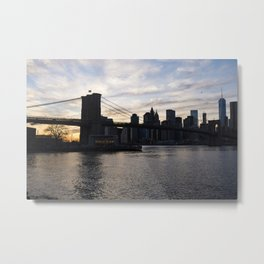 Brooklyn Bridge, Jane's Carousel,  and One World Trade Metal Print