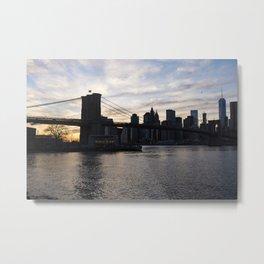 Brooklyn Bridge, Jane's Carousel,  and One World Trade Metal Print