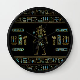 Anubis Egyptian  Gold and blue stained glass Wall Clock