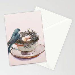 Bird nest in a teacup Stationery Cards