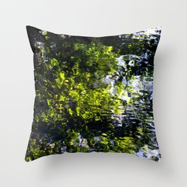 Ripples - abstract reflection of trees in moving water Throw Pillow