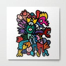 Cool Street Art Fun Multicolor Creatures Metal Print