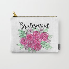 Bridesmaid Wedding Pink Roses Watercolor Carry-All Pouch