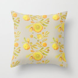 Granada Floral in Yellow on grey Throw Pillow