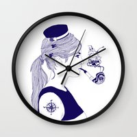 nautical Wall Clocks featuring Nautical by Nathalie Otter