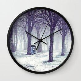 Tardis With Snow Jungle Wall Clock