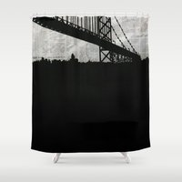 newspaper Shower Curtains featuring Paper City, Newspaper Bridge Collage, night silhouette cityscape news paper cutout, black and white by Irene's Goodies
