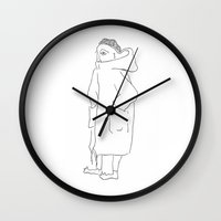 the dude Wall Clocks featuring Dude by Stina Nilsson