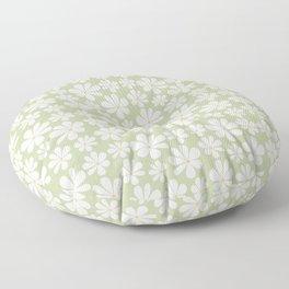 Floral Daisy Pattern - Green Floor Pillow