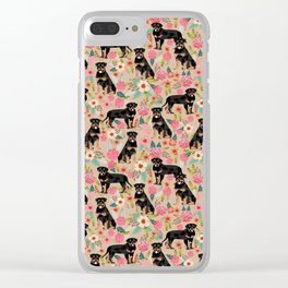 Rottweiler florals cute dog pattern pet friendly dog lover gifts for all dog breeds Clear iPhone Case
