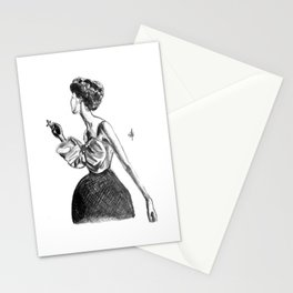 Cigarette Girl with Bow Dress Stationery Cards