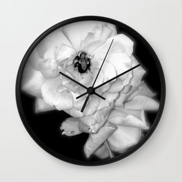 Bee on roses b/w version Wall Clock