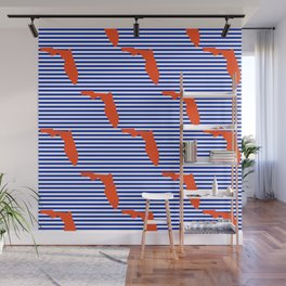 Florida university gators orange and blue college sports football stripes pattern Wall Mural