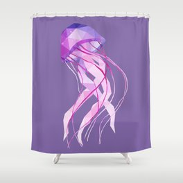 Low Poly Pelagia Noctiluca Jelly Fish. Shower Curtain
