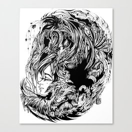 Bird Fox Hat Lady Illustration Canvas Print