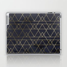Modern Deco Gold and Marble Geometric Mountains on Navy Blue Laptop & iPad Skin