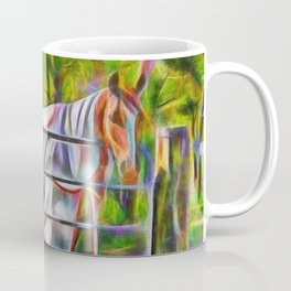 Handsome horse in rug at gate Coffee Mug