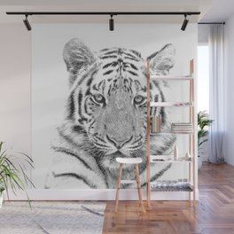 Black and white tiger Wall Mural