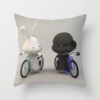 bikes Throw Pillows featuring bikes by coffee & fried chicken