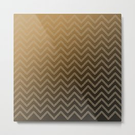 Brass glitter chevron pattern Metal Print