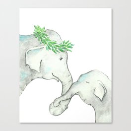 Elephant Mother and Baby Watercolor blue Canvas Print
