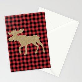 Buffalo Plaid Moose Lumberjack Stationery Cards