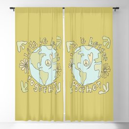 let's be better together // protect mother earth // retro art by surfy birdy Blackout Curtain