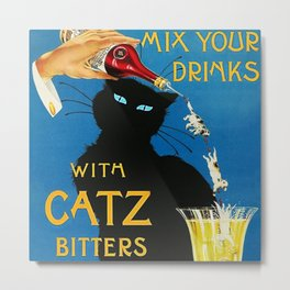 Mix Your Drinks with Catz (Cats) Bitters Aperitif Liquor Vintage Advertising Poster Metal Print