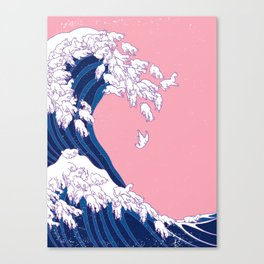 Llama Waves in Pink Canvas Print