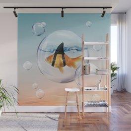 Shark Fin Goldfish in a Bubble Wall Mural