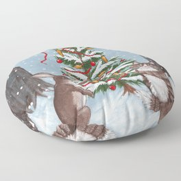 Rabbit and Cat Christmas Tree Floor Pillow