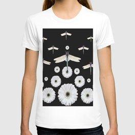 SURREAL WHITE DRAGONFLIES FLOWERS BLACK COLOR PATTERNS T-shirt