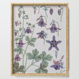 Columbine Flowers - Art Nouveau print - By Eugène Grasset Serving Tray