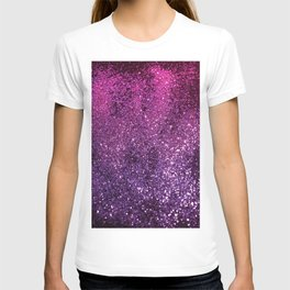 Purple Pink Ombre Lady Glitter #1 #shiny #decor #art #society6 T-shirt