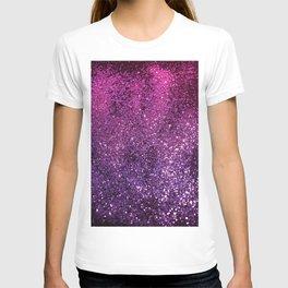 Purple Pink Ombre Lady Glitter #1 #shiny #decor #art #society6 T-shirt