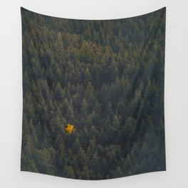 Modern Landscape Photography Single Autumn Tree Pine tree Forest Green Trees Yellow Focal Point Wall Tapestry