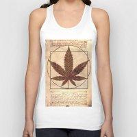 marijuana Tank Tops featuring vitruvian marijuana by Emekli Astronot