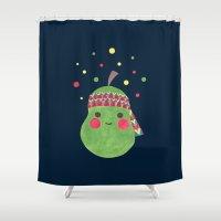 hippie Shower Curtains featuring Hippie Pear by haidishabrina
