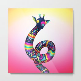 Spontaneus Giraffe Metal Print