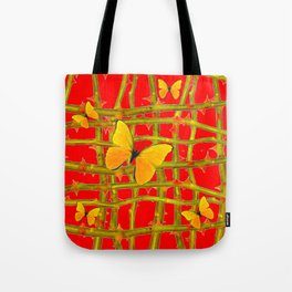 YELLOW BUTTERFLIES & RED THORN LATTICE Tote Bag