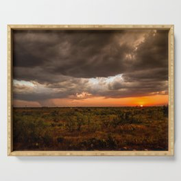 West Texas Sunset - Colorful Landscape After Storms Serving Tray