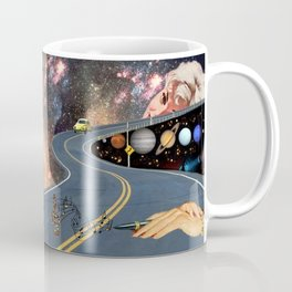 Composing on the Road. *Futuristic / Sci-Fi Surreal Digital Collage.* Coffee Mug