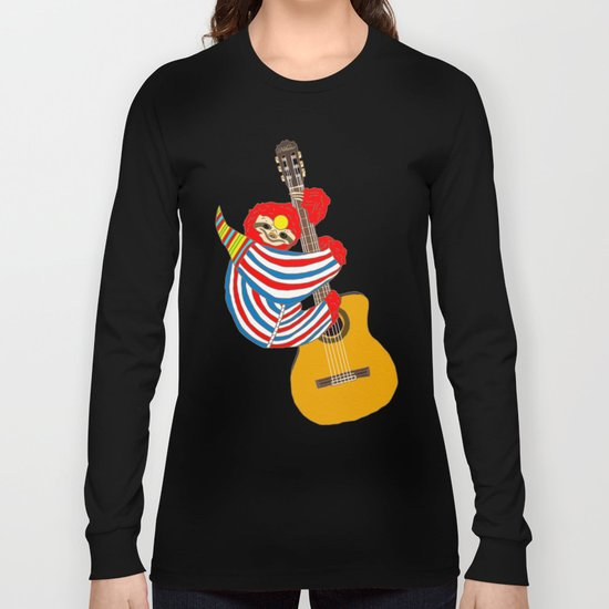 Bowie Sloth Vintage Guitar Long Sleeve T-shirt