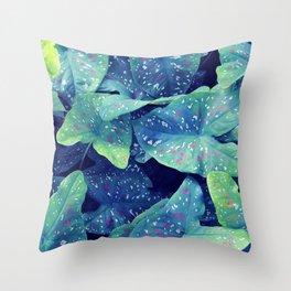 Blue Caladium Throw Pillow
