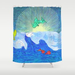Jumping Fishies Shower Curtain
