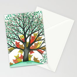 Nebraska Whimsical Cats in Tree Stationery Cards