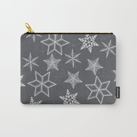 Snowflakes on grey background Carry-All Pouch