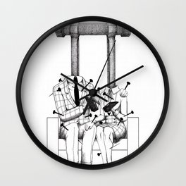 Love (one hand to caress and the other one to hurt) Wall Clock