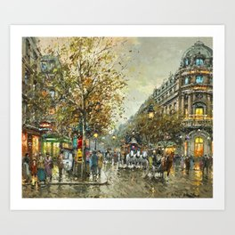 Paris, Autumn Cityscape by Antoine Blanchard Art Print