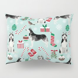 Siberian Husky christmas festive holiday gifts for husky owners by pet friendly Pillow Sham